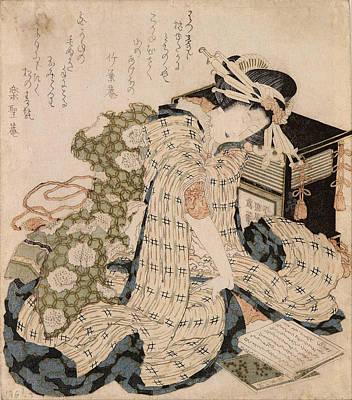 Courtesans Painting - Courtesan Asleep by Katsushika Hokusai