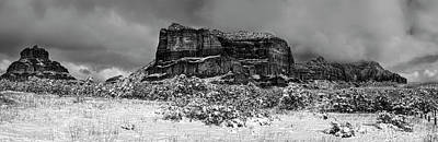 Photograph - Courthouse Butte And Bell Rock Under Snow by Alexey Stiop