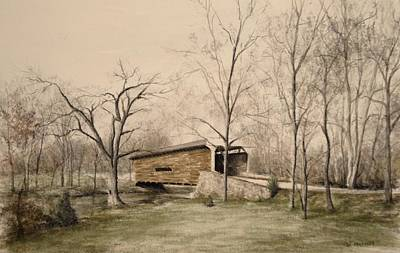 Covered Bridge In Winter Art Print by David Bruce Michener