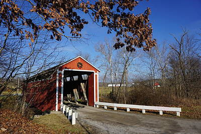 Photograph - Covered Bridge by Red Cross