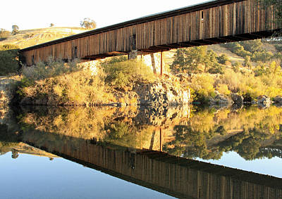 Lodes Photograph - Covered Bridge Reflection by Troy Montemayor