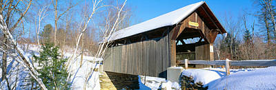 Stowe Vermont Photograph - Covered Bridge, Stowe, Winter, Vermont by Panoramic Images