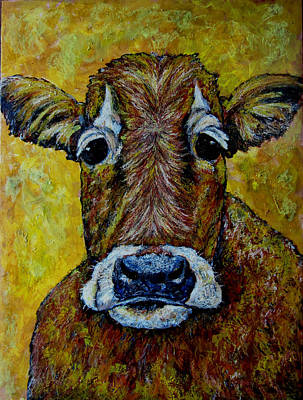 Wildlife Pastel - Cow Face Oil Painting by Lauri Kraft