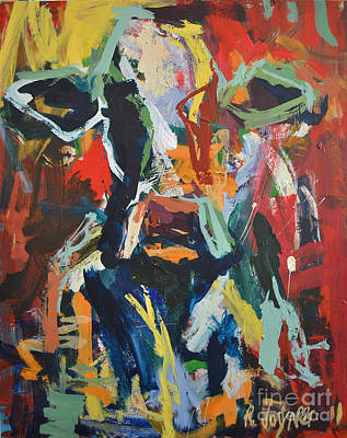 Print featuring the painting Cow Painting by Robert Joyner
