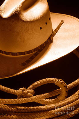 Stetson Photograph - Cowboy Hat And Lasso - Sepia by Olivier Le Queinec