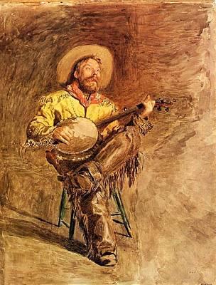 Banjo Painting - Cowboy Singing by Mountain Dreams