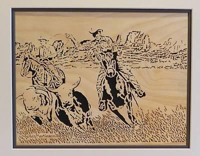 Steer Mixed Media - Cowboys Roping Steer by Kris Martinson