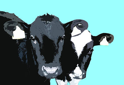 Digital Art - Cows - Blue by Mary Castellan