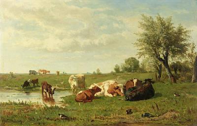 Cows In The Meadow Art Print by Gerard Bilders