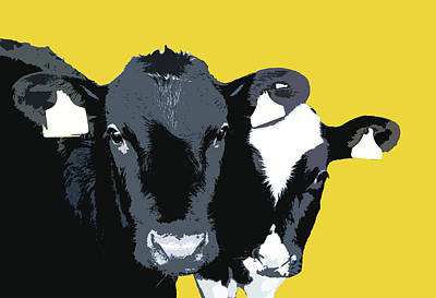 Digital Art - Cows - Yellow by Mary Castellan