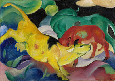 Franz Marc Painting - Cows, Yellow-red-green by Franz Marc