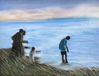 Pastel - Crab Fishers by Jan Amiss