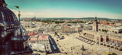 Photograph - Cracow, Poland Panorama. Old Town Market Square And Cloth Hall by Michal Bednarek