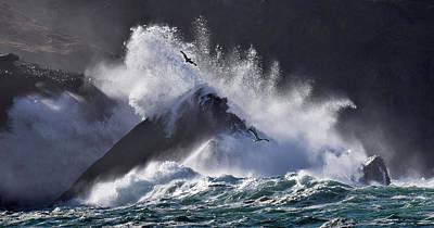 Photograph - Crashing Wave At Clogher by Barbara Walsh