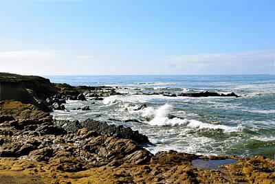 Crashing Waves Moonstone Beach Art Print by Barbara Snyder