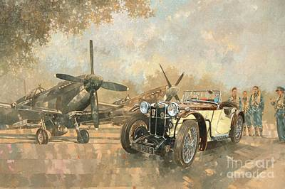 Old Cars Painting - Cream Cracker Mg 4 Spitfires  by Peter Miller