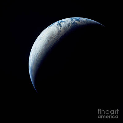 Exploration Of Space Photograph - Crescent Earth Taken From The Apollo 4 by Stocktrek Images