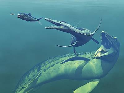 Cretaceous Marine Predators, Artwork Art Print by Walter Myers