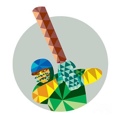Batsman Digital Art - Cricket Player Batsman Batting Low Polygon by Aloysius Patrimonio