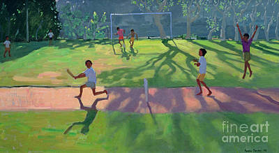 Children Sports Painting - Cricket Sri Lanka by Andrew Macara