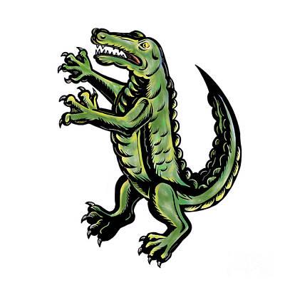 Crocodile Digital Art - Crocodile Standing Up Tattoo by Aloysius Patrimonio