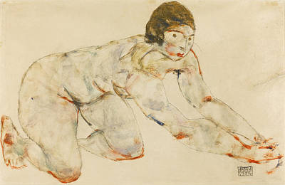 Drawing - Crouching Female Nude by Egon Schiele