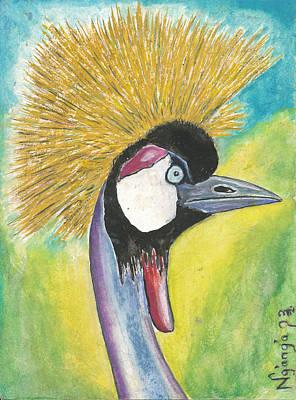 Kenyan Painting - Crowned Crane by Ken Nganga