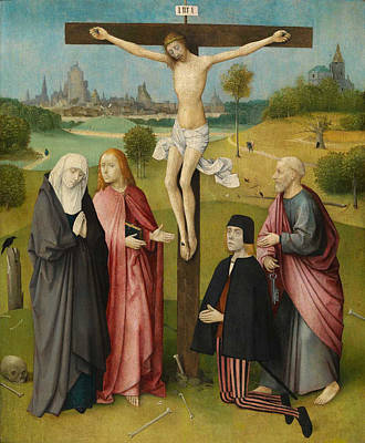Dutch Painting - Crucifixion With A Donor by Hieronymus Bosch