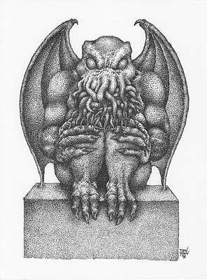 Drawing - Cthulhu Idol by Dan Moran
