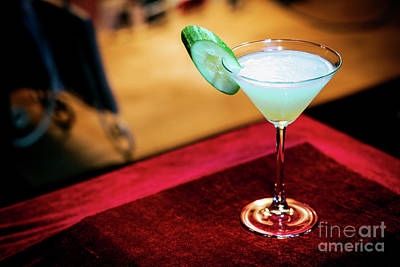 Martini Royalty-Free and Rights-Managed Images - Cucumber Mint Modern Trendy Martini Cocktail In Bar  by Jacek Malipan