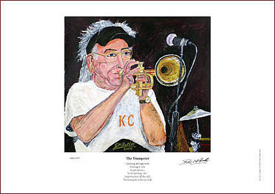 Painting - Cuff Billett On Trumpet - Giclee Print by Peter Mark Butler