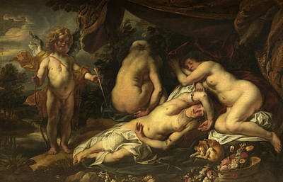 Psyche Painting - Cupid And Psyche by Jacob Jordaens