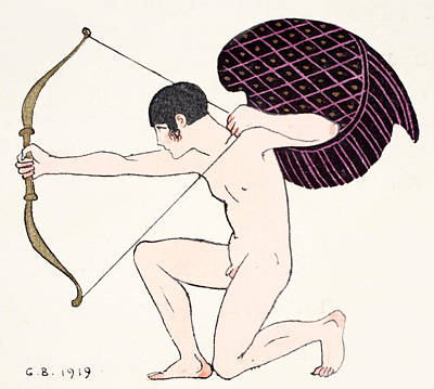 Beaux Arts Painting - Cupid by Georges Barbier