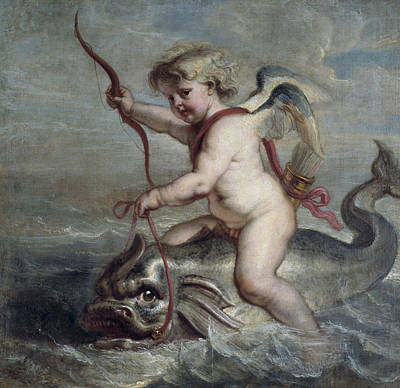 Painting - Cupid On A Dolphin by Erasmus Quellinus II
