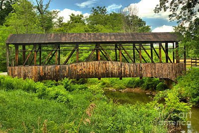 Photograph - Cuppetts Wooden Covered Bridge by Adam Jewell