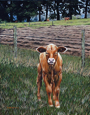Art Print featuring the painting Curious Calf by Rick McKinney