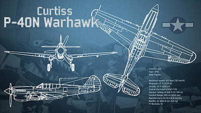 Plane Digital Art - Curtiss P-40n Warhawk Blueprint by Jose Elias - Sofia Pereira