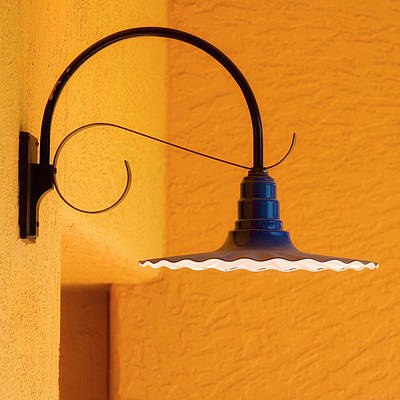 Stucco Photograph - Curved Outdoor Light Bright Yellow Wall by Carol Leigh