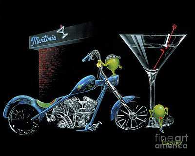Motorcycle Painting - Custom Martini by Michael Godard