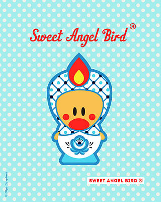 Cute Art - Blue Polka Dot Folk Art Sweet Angel Bird In A Nesting Doll Costume Wall Art Art Print
