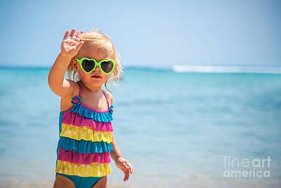 Photograph - Cute Baby Girl On The Beach by Anna Om