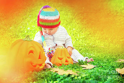 Photograph - Cute Baby Playing With Halloween Pumpkins by Anna Om