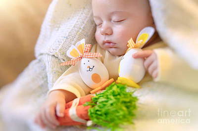 Photograph - Cute Baby Sleeping With Easter Decorations by Anna Om