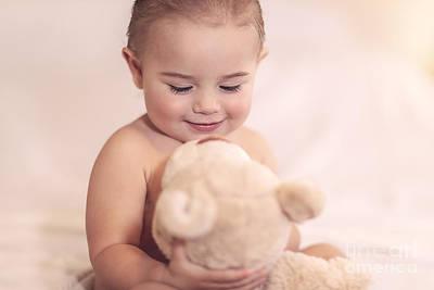 Photograph - Cute Baby With A Bear by Anna Om
