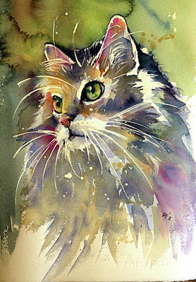 Painting - Cute Cat by Kovacs Anna Brigitta
