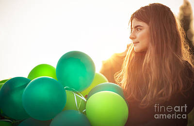 Photograph - Cute Girl With Air Balloons by Anna Om
