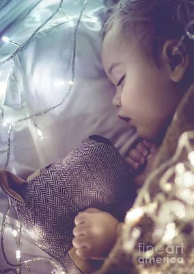 Photograph - Cute Little Baby Sleeping by Anna Om