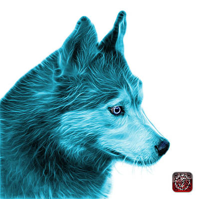 Art Print featuring the painting Cyan Siberian Husky Art - 6048 - Wb by James Ahn