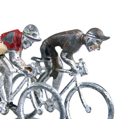 Up-cycled Photograph - Cyclists by Bernard Jaubert