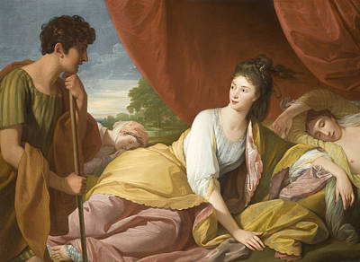 Blue And Gold Painting - Cymon And Iphigenia by Benjamin West